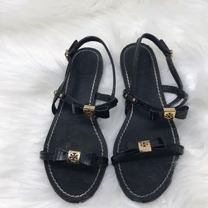 Tory Burch Selma Black Leather Sandals  7.5